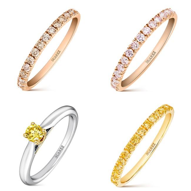 Anillos con diamantes Fancy de la Joyeria Suarez